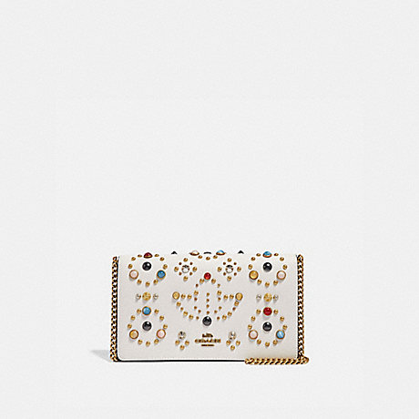 COACH 66624 CALLIE FOLDOVER CHAIN CLUTCH WITH RIVETS CHALK/BRASS