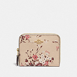COACH 66634 - SMALL ZIP AROUND WALLET WITH FLORAL BUNDLE PRINT GD/BEECHWOOD FLORAL BUNDLE