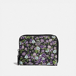 COACH 66644 Small Zip Around Wallet With Posey Print SV/BLACK POSEY PRINT