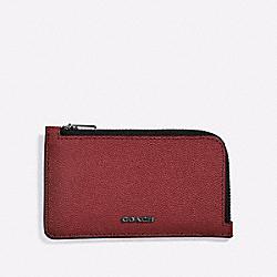 COACH 66832 - L-ZIP CARD CASE RED CURRANT