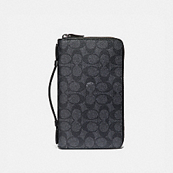 DOUBLE ZIP TRAVEL ORGANIZER IN SIGNATURE CANVAS - 66857 - CHARCOAL