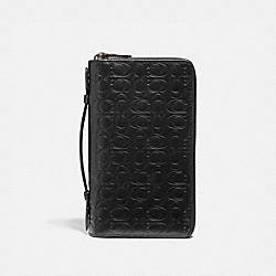COACH 66859 Double Zip Travel Organizer In Signature Leather BLACK