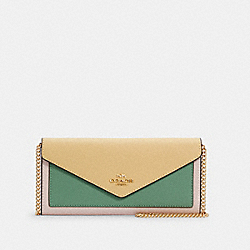 SLIM ENVELOPE WALLET WITH CHAIN IN COLORBLOCK - 6685 - IM/VANILLA CREAM MULTI