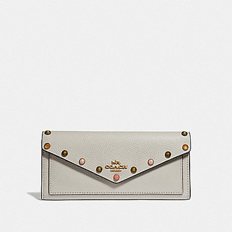 COACH 67130 SOFT WALLET WITH RIVETS CHALK/GOLD