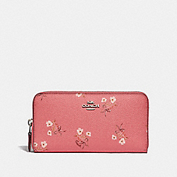 COACH 67192 Accordion Zip Wallet With Floral Bow Print SV/BRIGHT CORAL FLORAL BOW