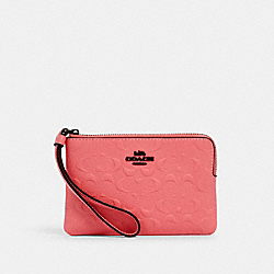 CORNER ZIP WRISTLET IN SIGNATURE LEATHER - 67555 - QB/PINK LEMONADE