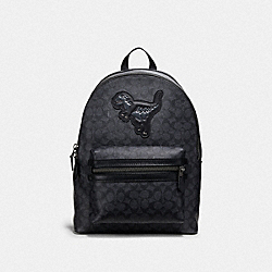 ACADEMY BACKPACK IN SIGNATURE CANVAS WITH REXY - 67851 - JI/CHARCOAL