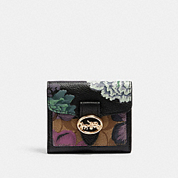 GEORGIE SMALL WALLET IN SIGNATURE CANVAS WITH KAFFE FASSETT PRINT - 6789 - IM/BLACK GREEN MULTI/KHAKI