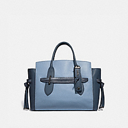 COACH 67959 Shadow Carryall In Colorblock With Snakeskin Detail SLATE/PEWTER