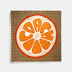 COACH 679 Signature Orange Slice Print Oversized Square Scarf KHAKI/SUNBEAM