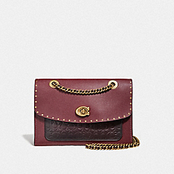 COACH 68001 Parker In Signature Leather With Rivets B4/OXBLOOD MULTI