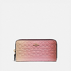 COACH 68298 - ACCORDION ZIP WALLET IN OMBRE SIGNATURE LEATHER PINK MULTI/GOLD