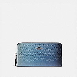 COACH 68298 - ACCORDION ZIP WALLET IN OMBRE SIGNATURE LEATHER BLUE MULTICOLOR/SILVER