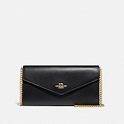COACH 68311 Envelope Chain Wallet BLACK/GOLD