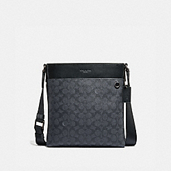 COACH 68368 Metropolitan Slim Messenger In Signature Canvas CHARCOAL/BLACK ANTIQUE NICKEL
