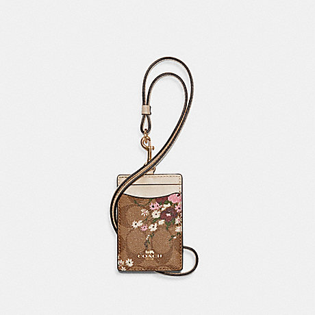 COACH 6855 ID LANYARD IN SIGNATURE CANVAS WITH EVERGREEN FLORAL PRINT IM/KHAKI MULTI