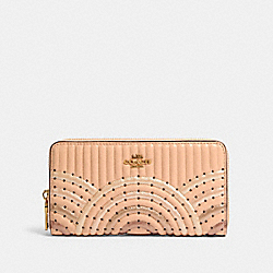 COACH 68843 - ACCORDION ZIP WALLET WITH COLORBLOCK DECO QUILTING AND RIVETS B4/NUDE PINK MULTI
