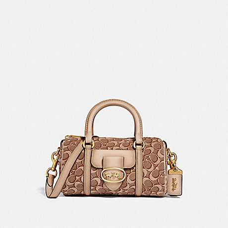 COACH 68954 BARREL BAG IN SIGNATURE JACQUARD B4/TAN-LIGHT-TAN