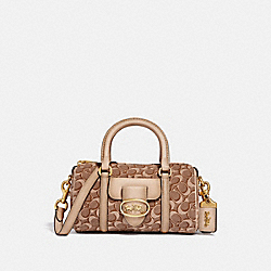 BARREL BAG IN SIGNATURE JACQUARD - 68954 - B4/TAN LIGHT TAN