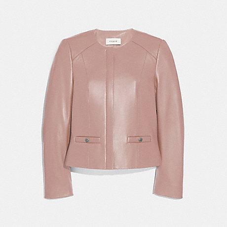 COACH TAILORED LEATHER JACKET - POWDER PINK - 69019
