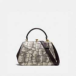 FRAME BAG IN SNAKESKIN - 69025 - NATURAL/BRASS