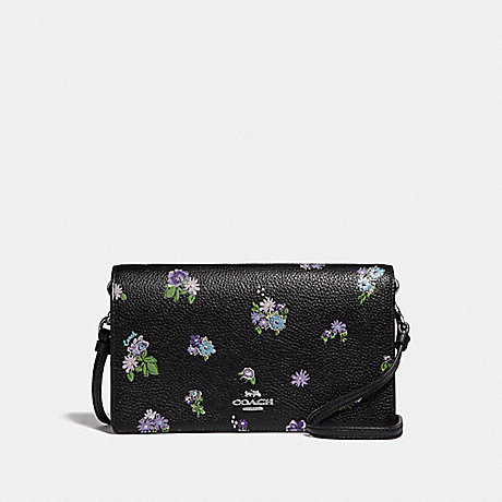 COACH 69072 HAYDEN FOLDOVER CROSSBODY WITH POSEY CLUSTER PRINT BLACK POSEY PRINT/SILVER