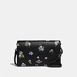 HAYDEN FOLDOVER CROSSBODY WITH POSEY CLUSTER PRINT - 69072 - BLACK POSEY PRINT/SILVER