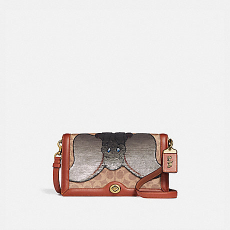 COACH 69135 DISNEY X COACH SIGNATURE RILEY WITH EMBELLISHED DUMBO TAN/RUST/BRASS
