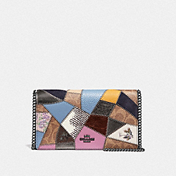 COACH 69189 Callie Foldover Chain Clutch With Signature Patchwork TAN BLACK MULTI/PEWTER