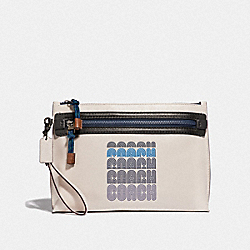 COACH 69212 Academy Pouch With Coach Print CHALK