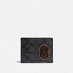 COACH 69218 Slim Billfold Wallet In Signature Canvas With Coach Patch CHARCOAL/DEEP SKY
