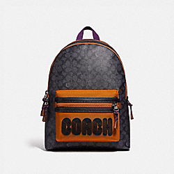 COACH 69288 Academy Backpack In Signature Canvas With Coach Print CHARCOAL/BLACK COPPER