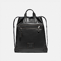 COACH 69324 Academy Drawstring Backpack BLACK/BLACK COPPER