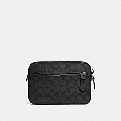 COACH 69355 - METROPOLITAN SOFT BELT BAG IN SIGNATURE CANVAS CHARCOAL/BLACK ANTIQUE NICKEL