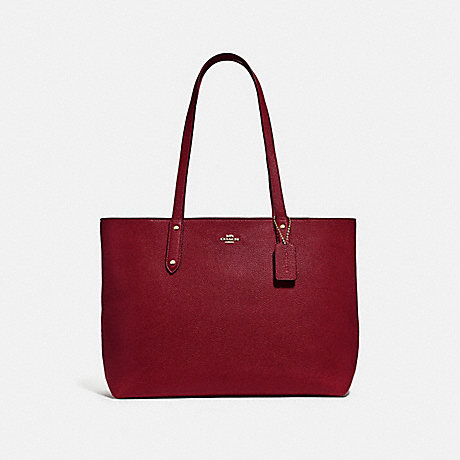 COACH 69424 CENTRAL TOTE WITH ZIP GOLD/DEEP-RED