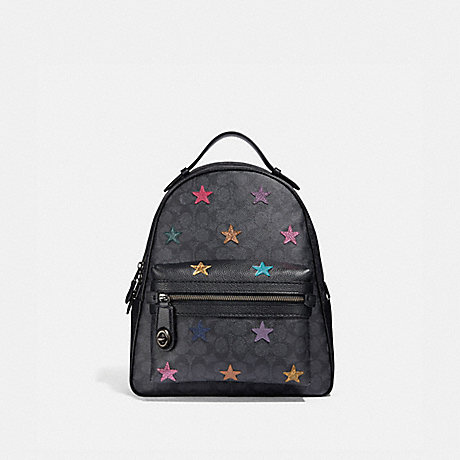 COACH 69439 CAMPUS BACKPACK IN SIGNATURE CANVAS WITH STAR APPLIQUE AND SNAKESKIN DETAIL CHARCOAL/MULTI/PEWTER