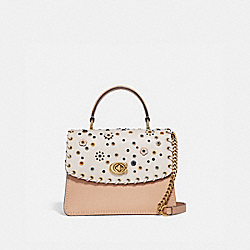 COACH 69444 Parker Top Handle With Scattered Rivets BRASS/CHALK MULTI