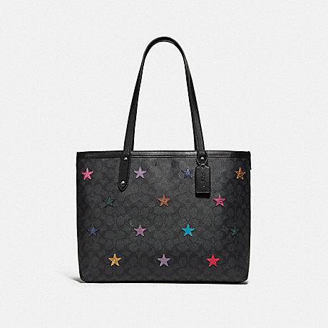 COACH 69453 CENTRAL TOTE IN SIGNATURE CANVAS WITH STAR APPLIQUE AND SNAKESKIN DETAIL CHARCOAL/MULTI/PEWTER