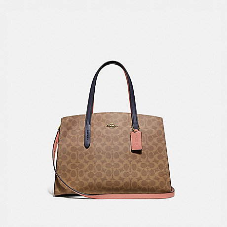 COACH 69481 CHARLIE CARRYALL IN COLORBLOCK SIGNATURE CANVAS TAN/INK-LIGHT-PEACH/BRASS