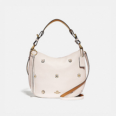 COACH 69507 SUTTON HOBO WITH SCATTERED RIVETS BRASS/CHALK