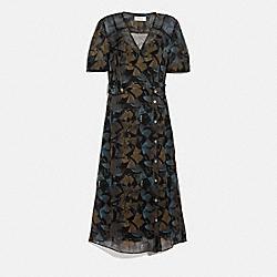 PRINTED LONG CHIFFON V-NECK DRESS - 6950 - BLACK/YELLOW
