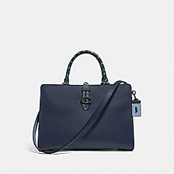 COACH 69514 Serra Satchel In Colorblock PEWTER/INK MULTI