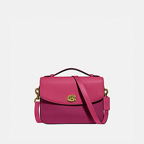 COACH 69524 CASSIE CROSSBODY IN COLORBLOCK BRIGHT-CHERRY-MULTI/BRASS