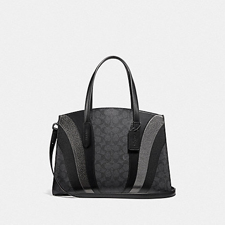 COACH CHARLIE CARRYALL IN SIGNATURE CANVAS WITH WAVE PATCHWORK - CHARCOAL/MULTI/PEWTER - 69529