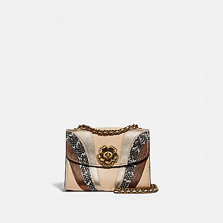 COACH 69659 PARKER 18 WITH WAVE PATCHWORK AND SNAKESKIN DETAIL IVORY-MULTI/BRASS