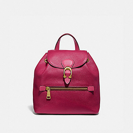 COACH 69663 EVIE BACKPACK 22 IN COLORBLOCK BRIGHT-CHERRY-MULTI/BRASS