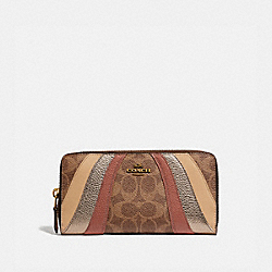 ACCORDION ZIP WALLET IN SIGNATURE CANVAS WITH WAVE PATCHWORK - 69674 - TAN MULTI/BRASS