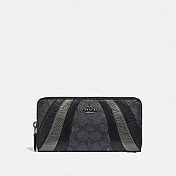 ACCORDION ZIP WALLET IN SIGNATURE CANVAS WITH WAVE PATCHWORK - 69674 - CHARCOAL/MULTI/PEWTER