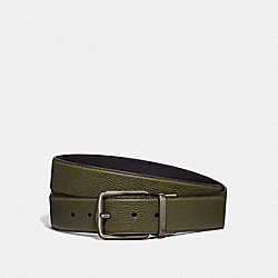 COACH 69821 - HARNESS BUCKLE CUT-TO-SIZE REVERSIBLE BELT, 38MM LIGHT OLIVE/BLACK