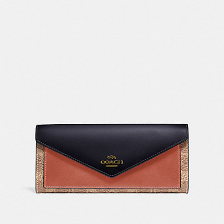 COACH SOFT WALLET IN COLORBLOCK SIGNATURE CANVAS - TAN/INK LIGHT PEACH/BRASS - 69828